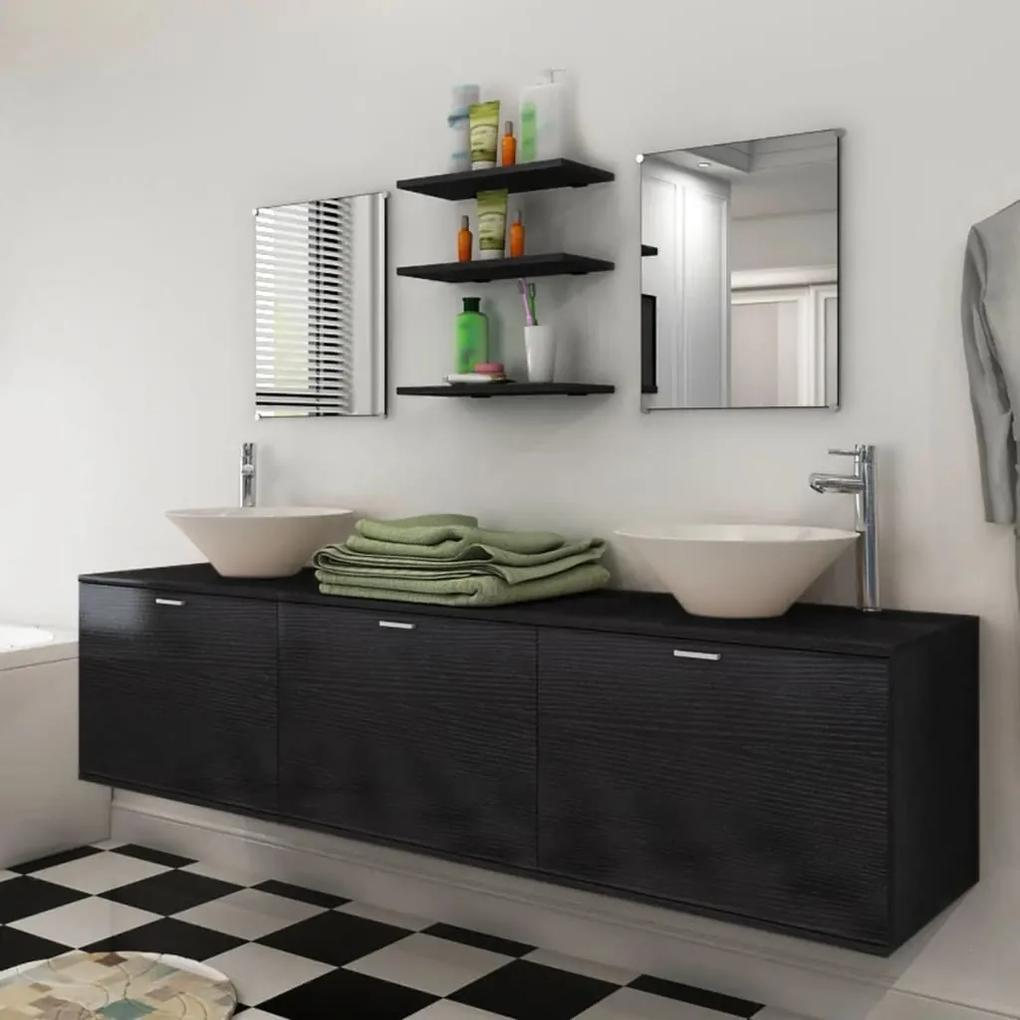 273691 vidaXL Set mobilier baie 10 piese cu chiuvete și robinete incluse, Negru