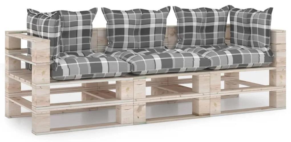 3066127 vidaXL Canapea de grădină din paleți, 3 locuri, cu perne, lemn de pin