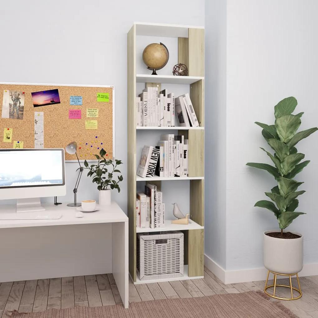 800113 vidaXL Bibliotecă/Separator cameră alb&stejar Sonoma 45x24x159cm PAL