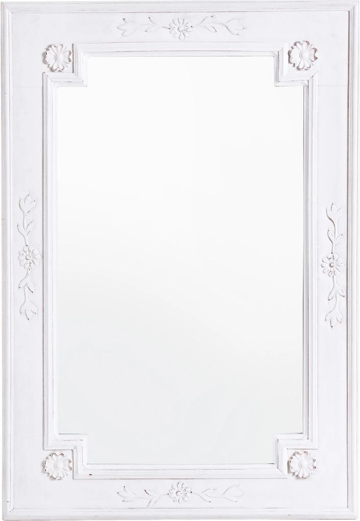 Oglinda decorativa perete lemn alb vintage Daisy 55 cm x 80h