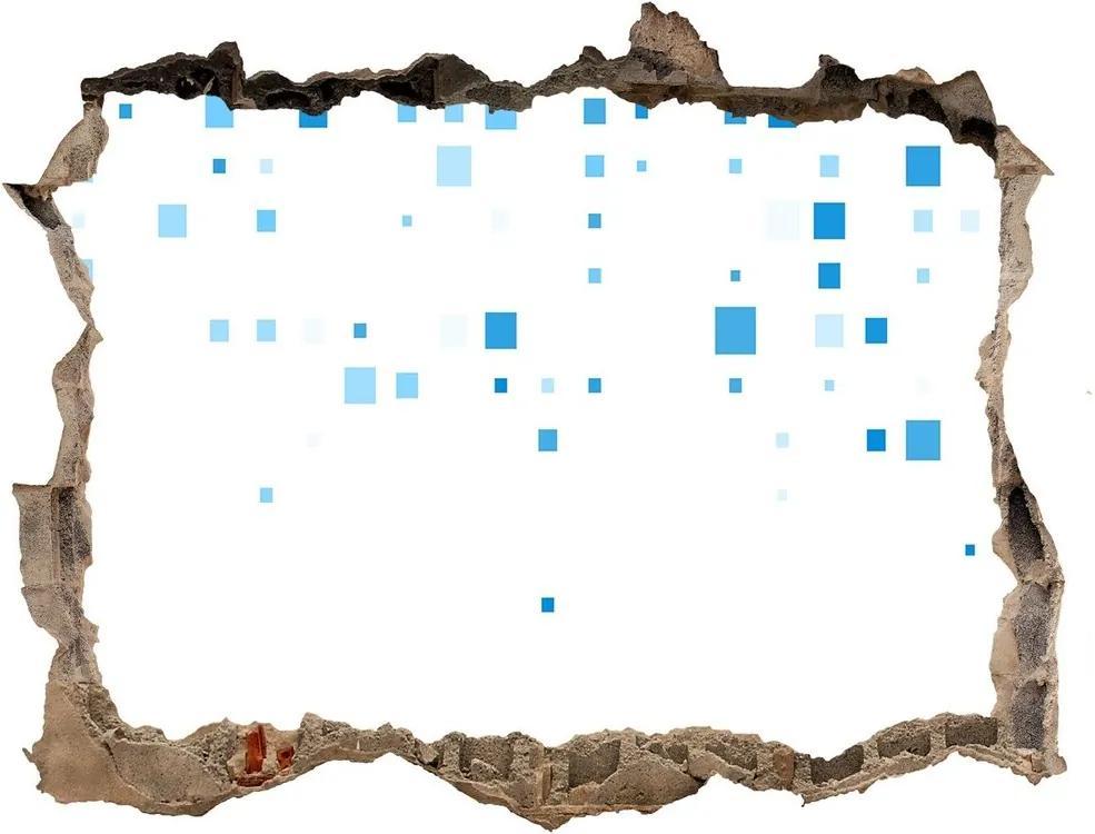 Autocolant 3D gaura cu priveliște Pătrate albastre