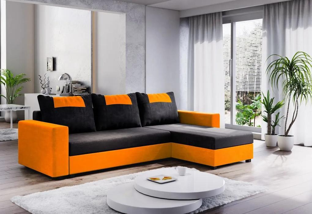 Expedo Colțar extensibil COOPER, 232x144, negru/portocaliu, microfibră04/U064
