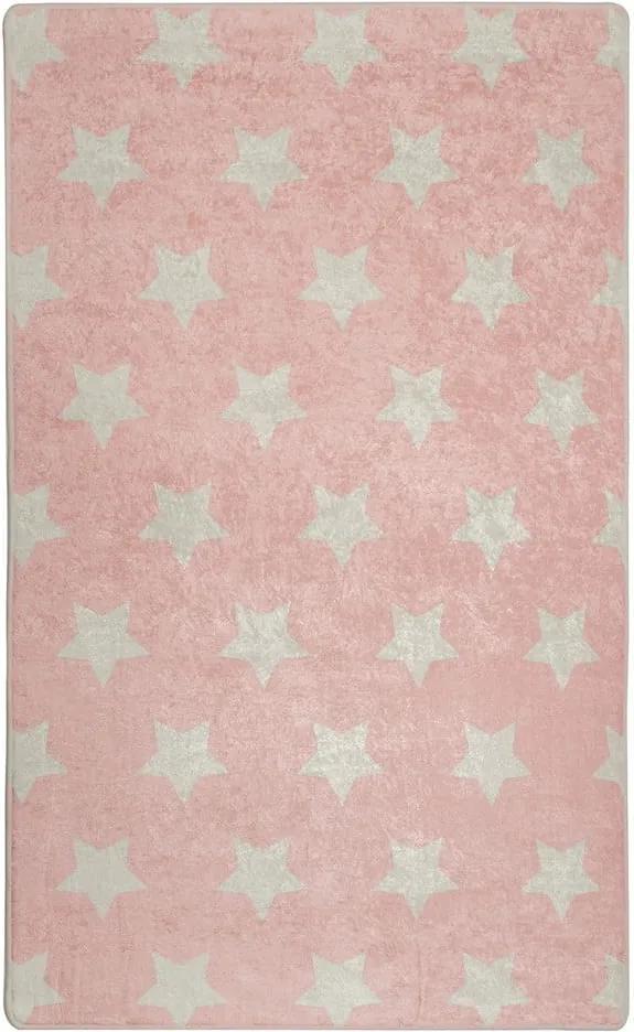 Covor antiderapant pentru copii Chilai Stars, 100 x 160 cm, roz
