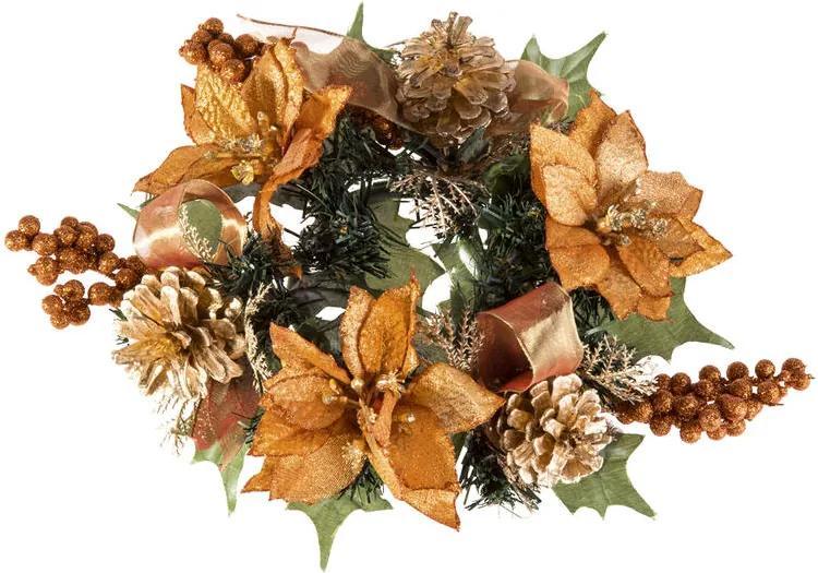 Coroniţă de Crăciun artificială culoarea bronzului 20 cm