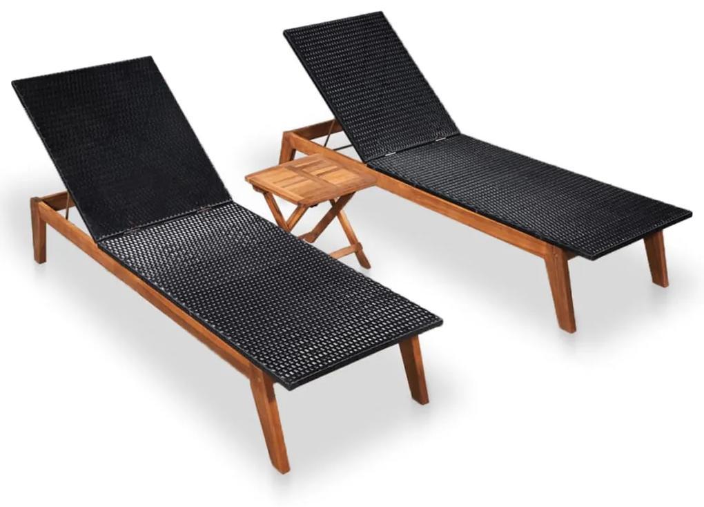 46032 vidaXL Șezlonguri cu masă, 2 buc., poliratan & lemn masiv de acacia