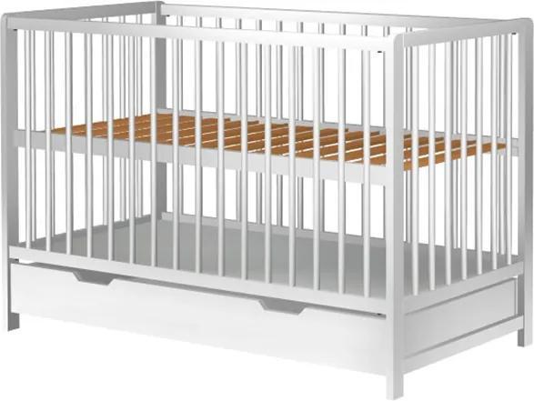 Patut copii din lemn Dominic 120x60 cm alb cu sertar
