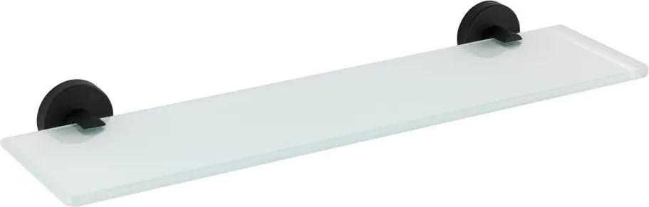 Raft din sticlă pentru perete, cu prinderi din oțel inoxidabil Wenko Bosio, negru mat