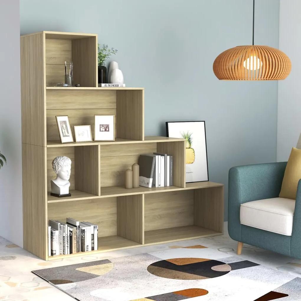 800660 vidaXL Bibliotecă/Separator cameră, stejar Sonoma, 155x24x160 cm, PAL