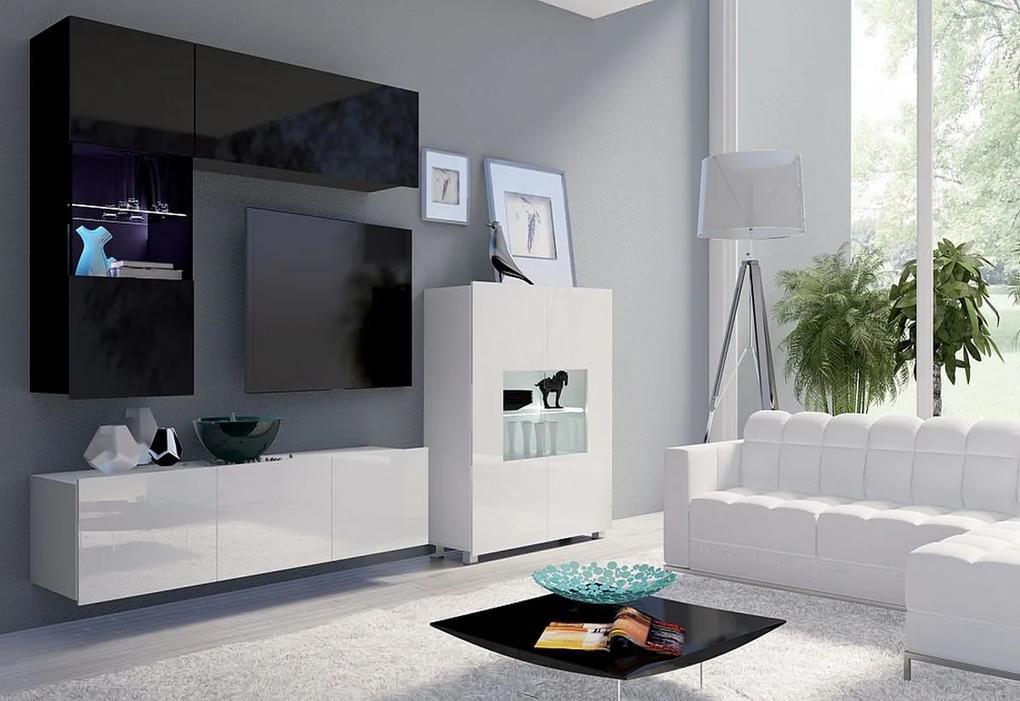 Expedo Set living BRINICA NR3, negru/negru luciu + alb/alb luciu + LED albastru