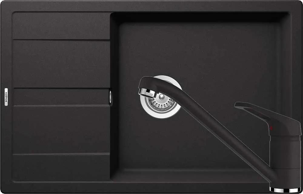 Set Chiuveta Schock Ronda D-100XL 780 x 500 mm si Baterie Schock Cosmo Nero Cristalite