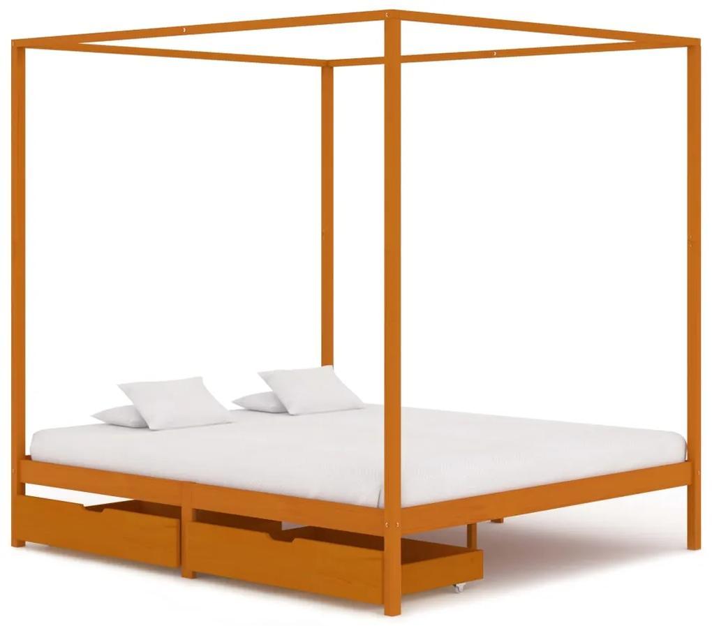 3060542 vidaXL Cadru pat cu baldachin, 2 sertare, 180x200 cm, lemn masiv pin