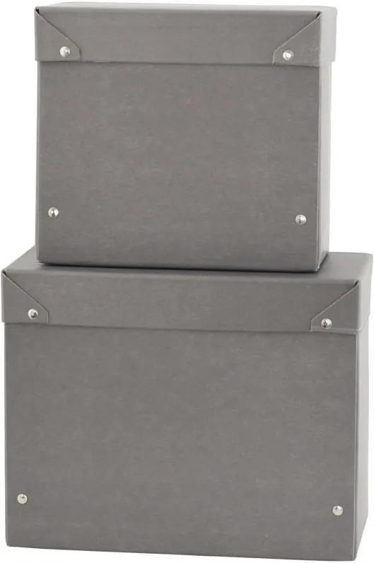 Set 2 Cutii Depozitare Patrate MEMO - Carton Gri inchis S-lungime(20cm) x latime(10cm) x inaltime(18cm); L-lungime(25cm) x latime(12cm) x inaltime(20c