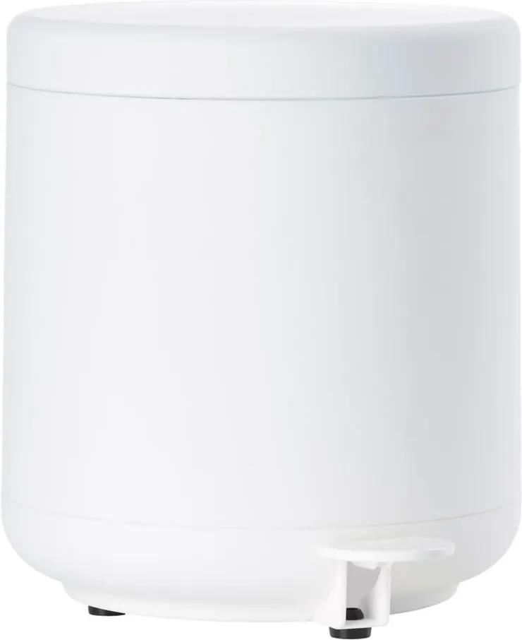 Coș de gunoi cu pedală pentru baie Zone UME, 4 l, alb