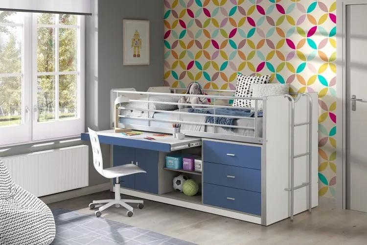 Pat etajat din pal si metal cu birou incorporat si 3 sertare, pentru copii Bonny Alb / Albastru, 200 x 90 cm