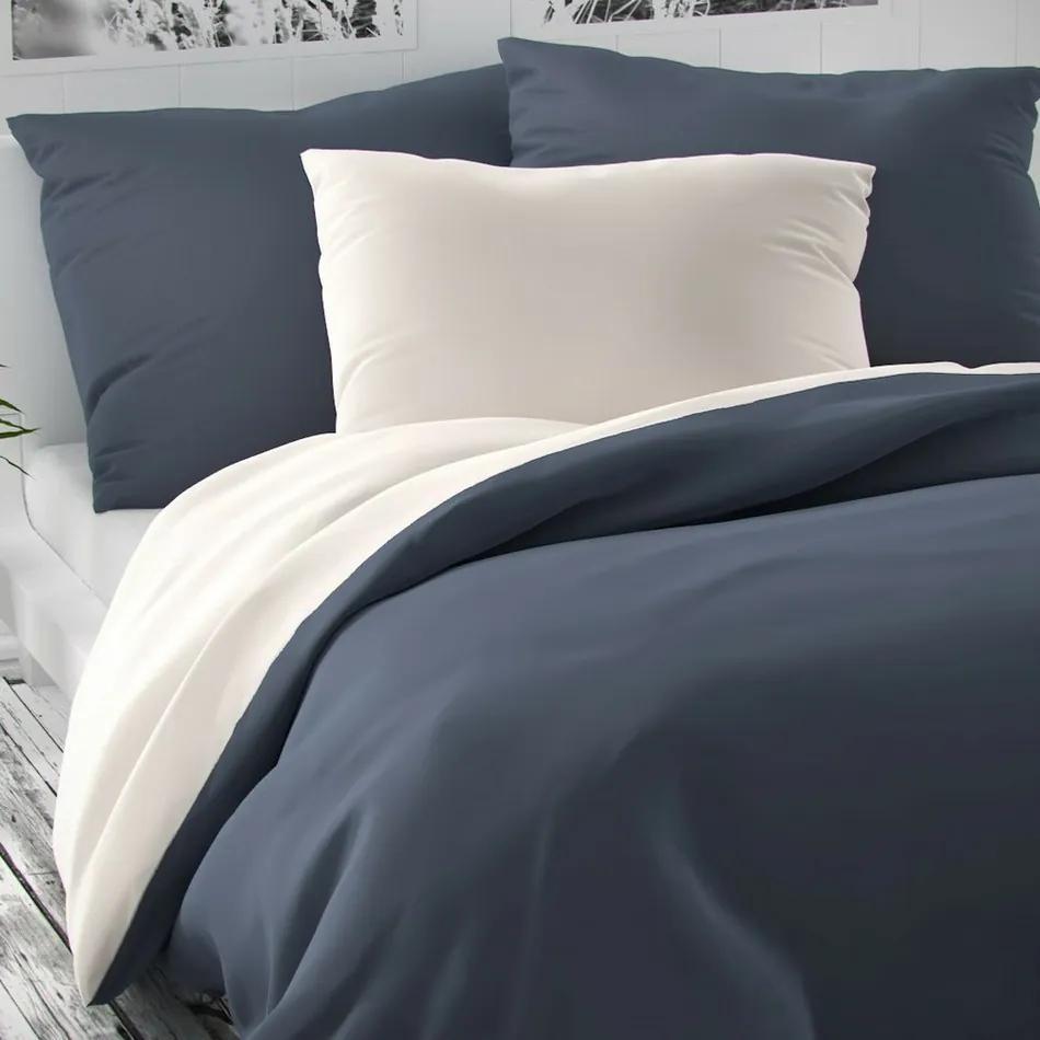 Lenjerie de pat din satin, Luxury Collection 2 pers., alb/gri, 220 x 200 cm, 2 buc. 70 x 90 cm, 220 x 200 cm, 2 buc. 70 x 90 cm