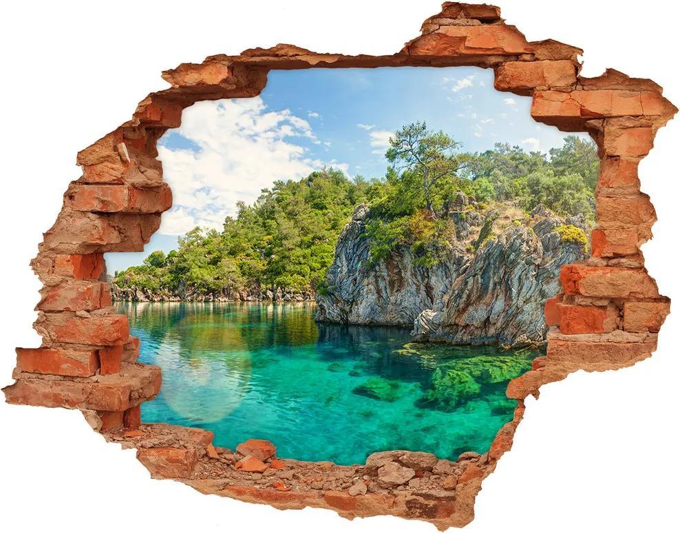 Fototapet un zid spart cu priveliște Lagună albastră