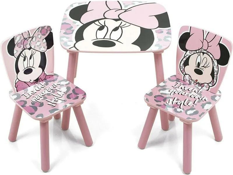 Arditex - Set Masuta cu 2 scaunele Minnie Mouse din Lemn, 50x50 cm