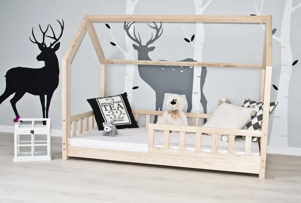 Casă pentru pătuț cu barieră Tea - naturală House bed  200x90 cm