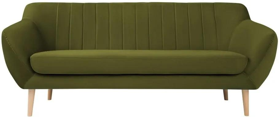Canapea cu tapițerie din catifea Mazzini Sofas Sardaigne, 188 cm, verde