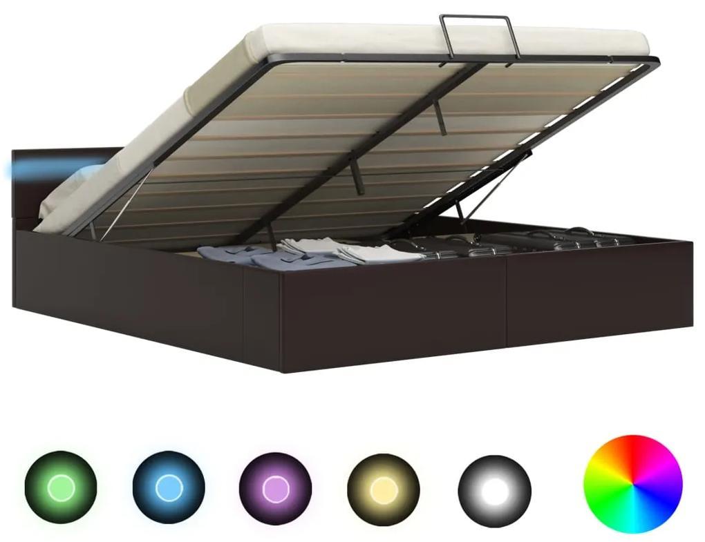 285556 vidaXL Cadru pat hidraulic, depozitare, LED, gri, 160x200 cm piele eco
