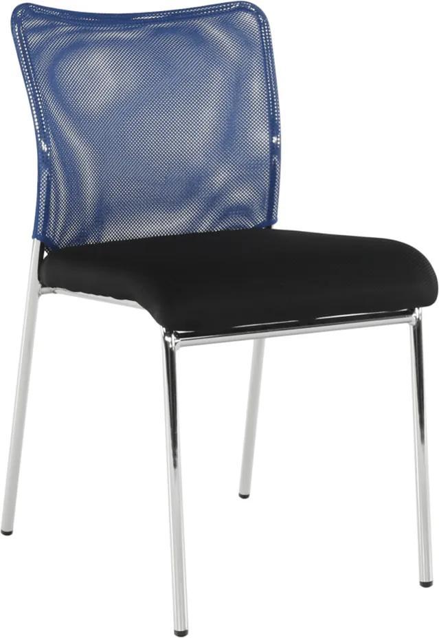 Scaun de birou, albastru/negru/crom, ALTAN