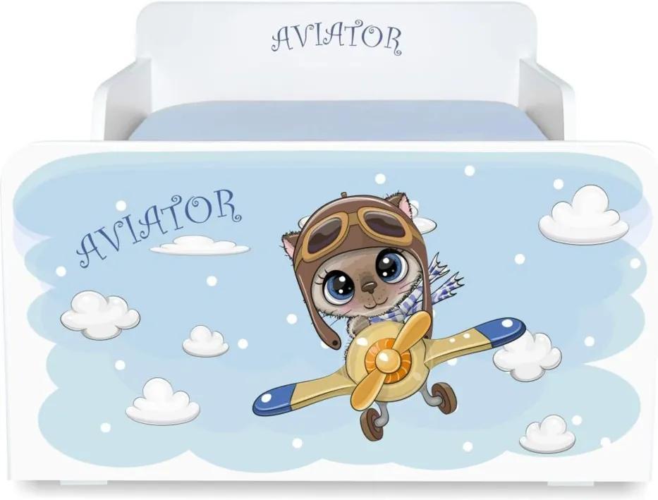 Pat copii Aviator 2-12 ani cu saltea cadou