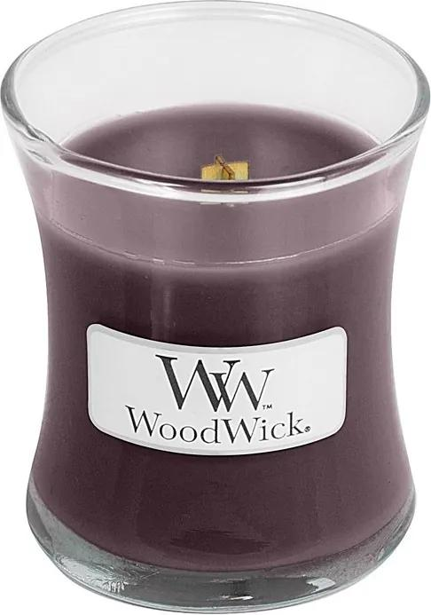 WoodWick parfumata lumanare Black Plum Cognac vaza mica
