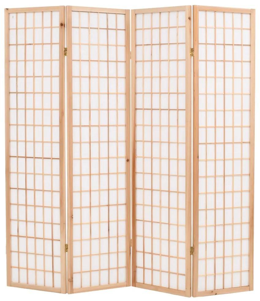 245902 vidaXL Paravan pliabil cu 4 panouri, stil japonez, 160x170 cm, Natural