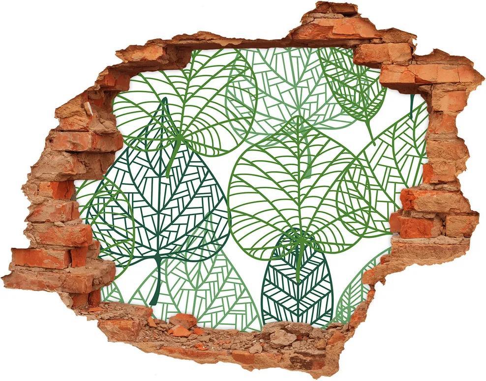 Autocolant autoadeziv gaură Frunze verzi model