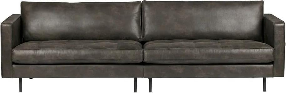 Canapea cu husă din piele reciclată BePureHome Rodeo, negru, 277 cm