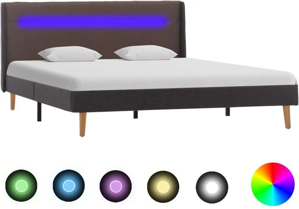 Cadru de pat cu LED, gri taupe, 140 x 200 cm, material textil