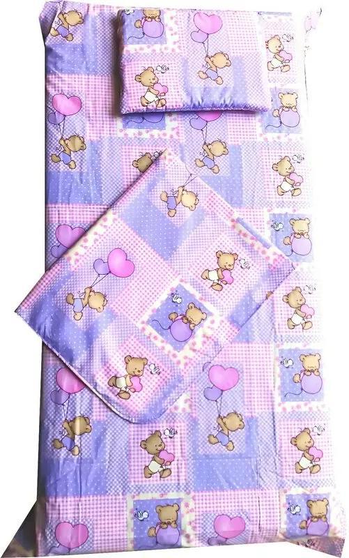 Deseda - Set Paturica bebe cu Cearsaf si Pernuta pt pat 120x60 cm Ursi pe roz
