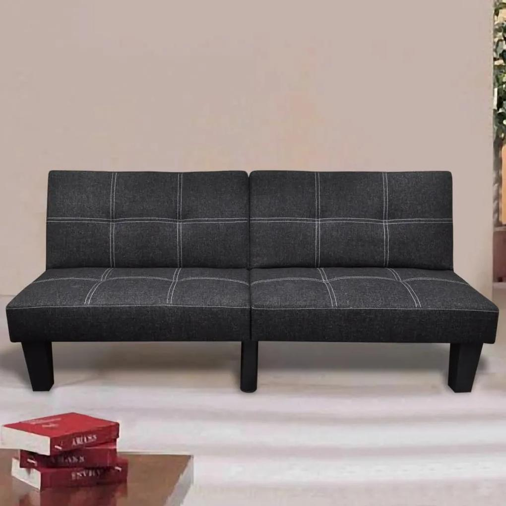 240782 vidaXL Canapea extensibilă, material textil, reglabil, negru