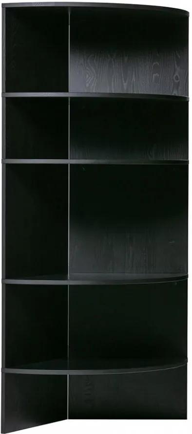 Biblioteca neagra din lemn 168 cm Trian Black