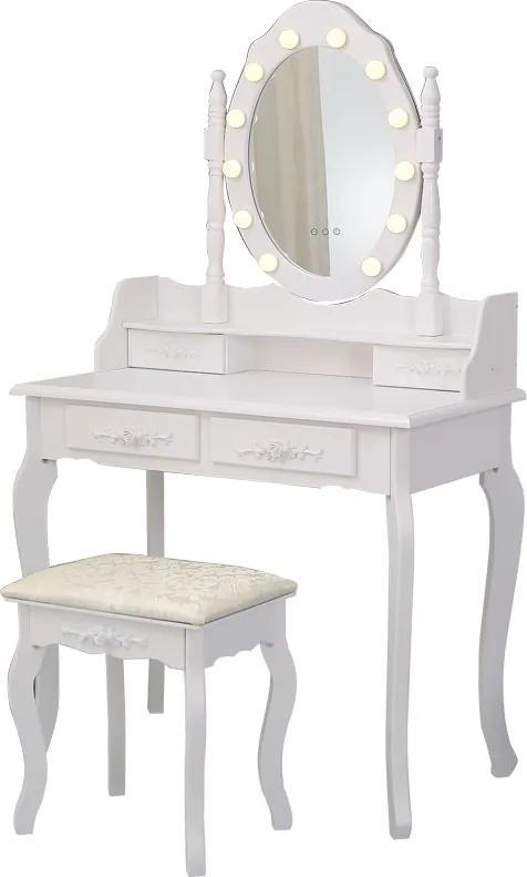 Set Julieta, masă de toaletă cu oglindă iluminată LED, control touch,  4 sertare, scaun, Alb