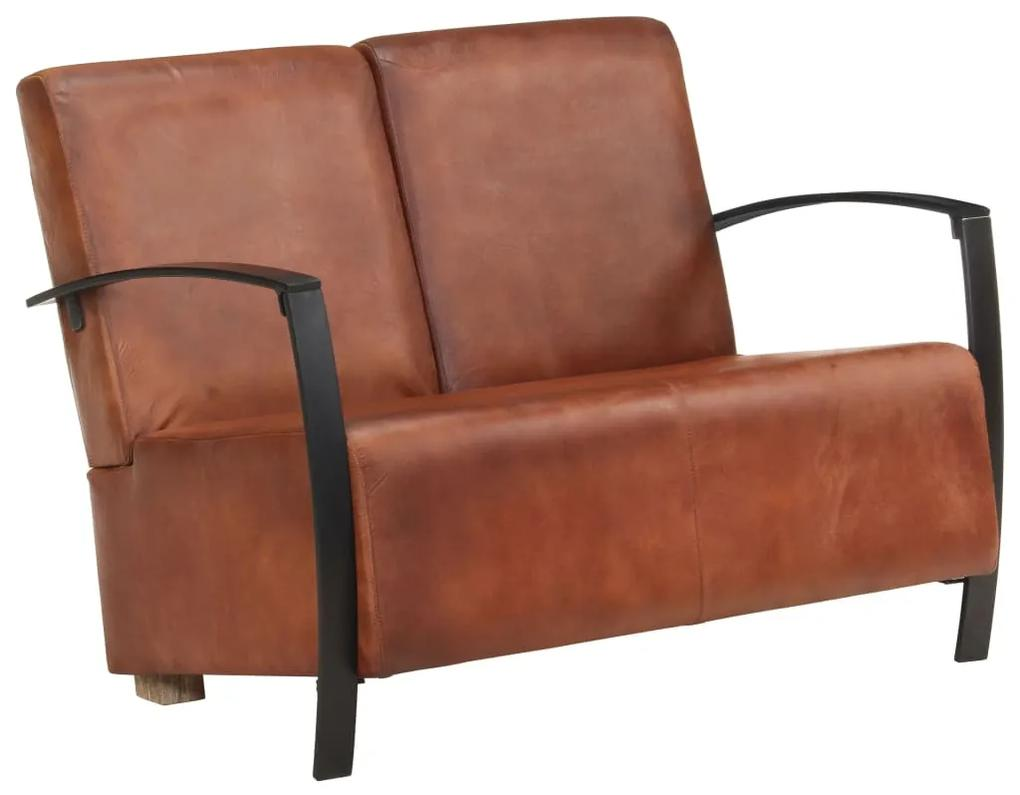 321860 vidaXL Canapea cu 2 locuri, maro, piele naturală