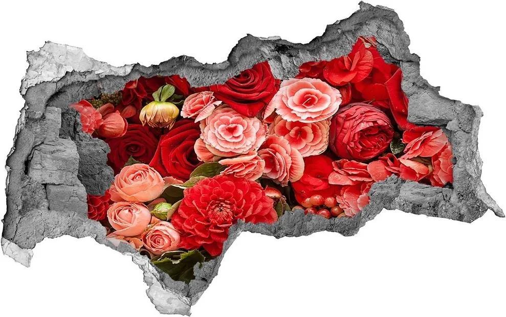 Autocolant 3D gaura cu priveliște Flori roșii