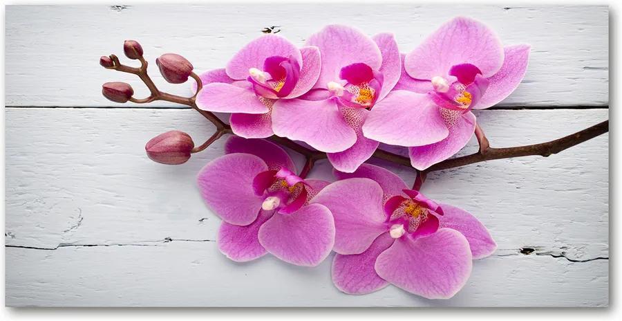 Tablou sticlă Orhideea pe lemn