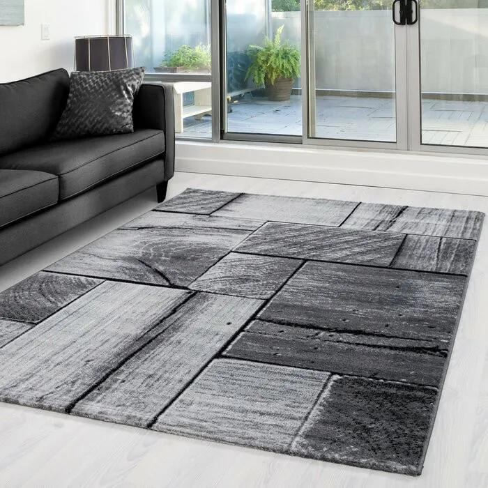 Covor Vikki, polipropilena, negru/gri, 80 x 150 cm
