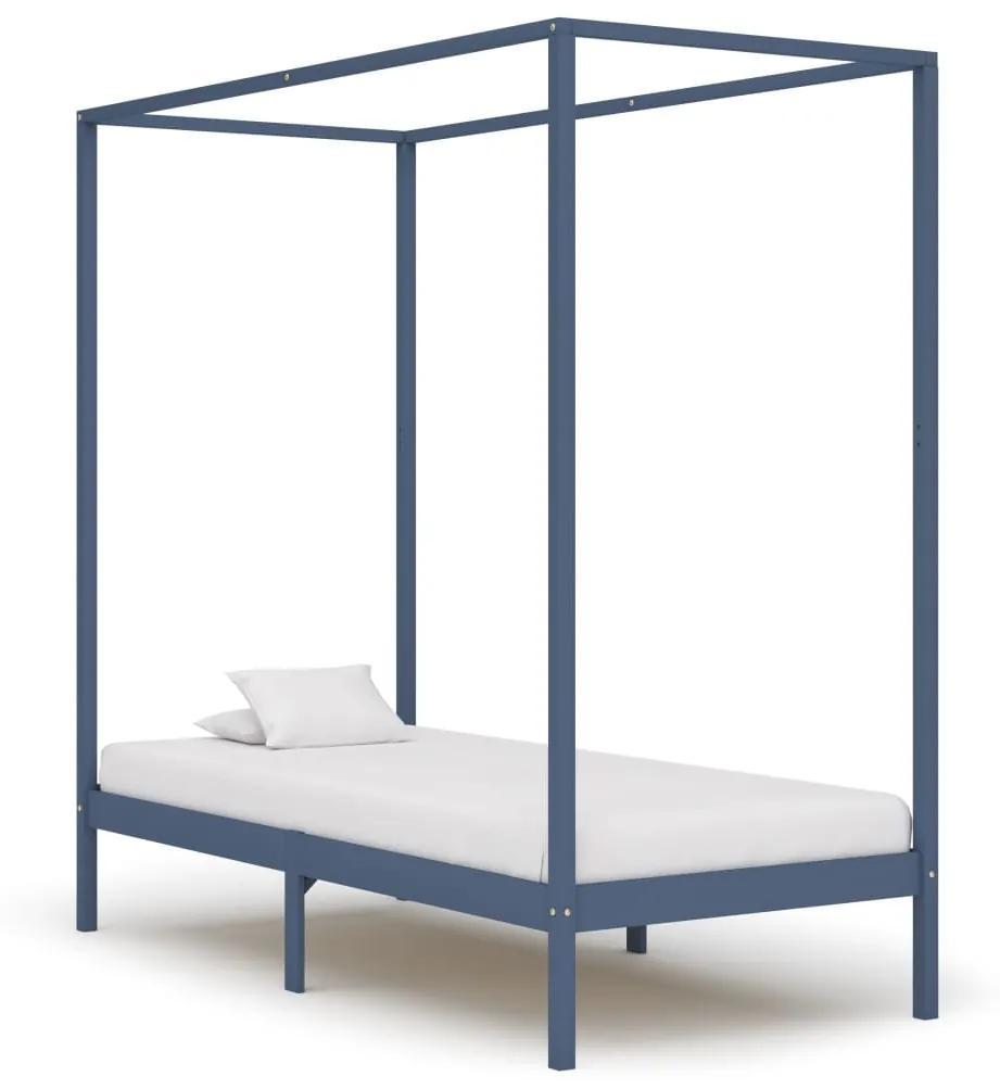 283275 vidaXL Cadru pat cu baldachin, gri, 100x200 cm, lemn masiv de pin