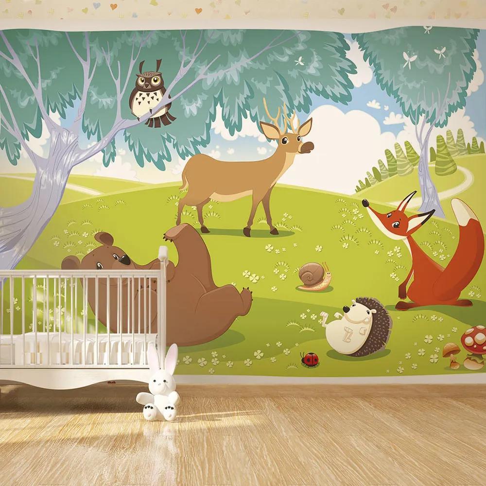 Bimago Fototapet - Funny animals 200x140 cm