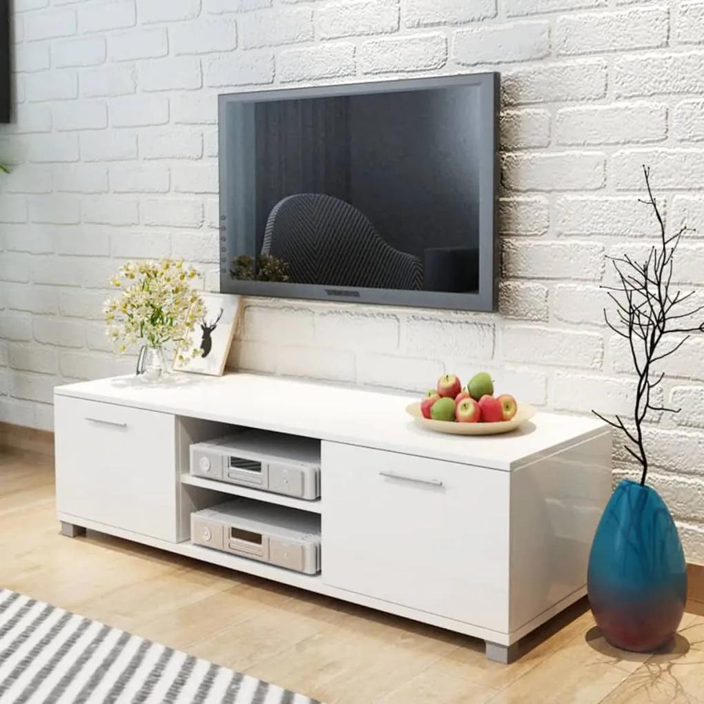 243041 vidaXL Comodă TV, alb extralucios, 120 x 40,3 x 34,7 cm