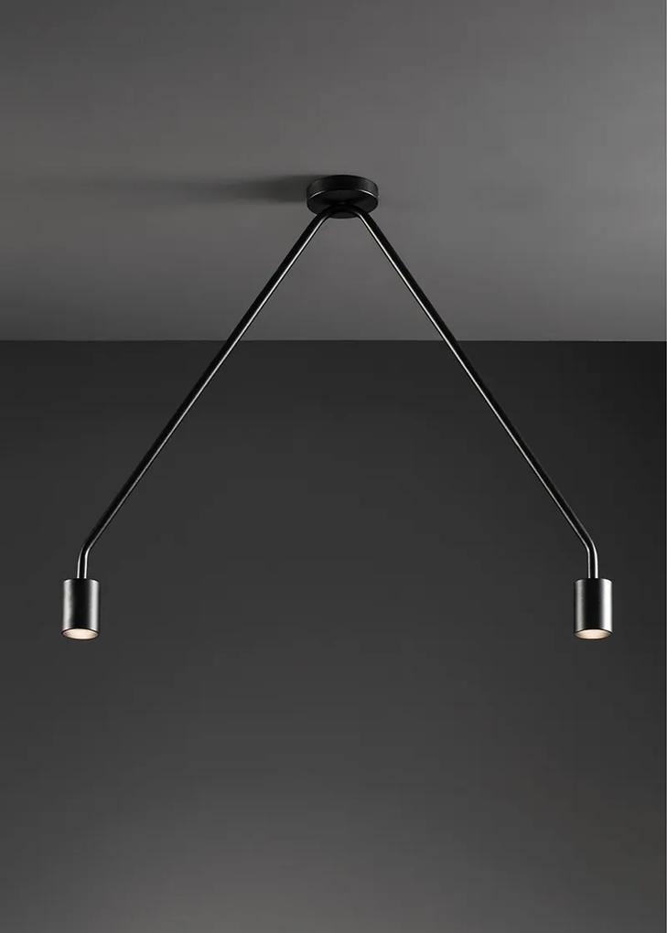 Caos III - Plafonieră neagră cu 2 surse de lumină LED