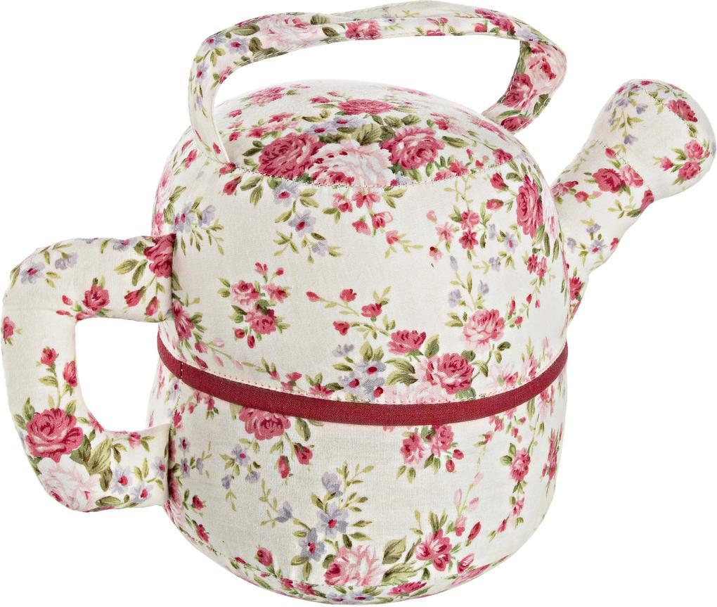Opritor de usa textil rosu bej Tea Pot Flowers 27x14x17 cm
