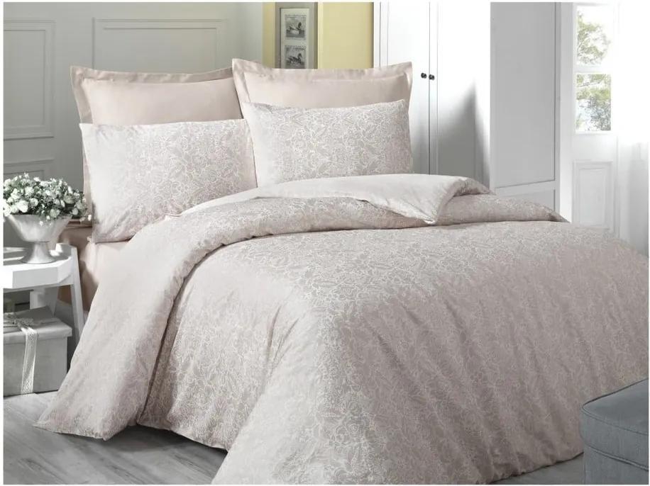 Lenjerie de pat din bumbac satinat Cream, 140 x 200 cm, crem