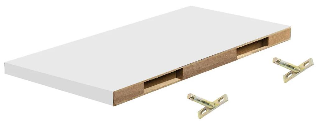 Polita perete cu suport fixare ascuns, 60x19x1.8 cm, Alb