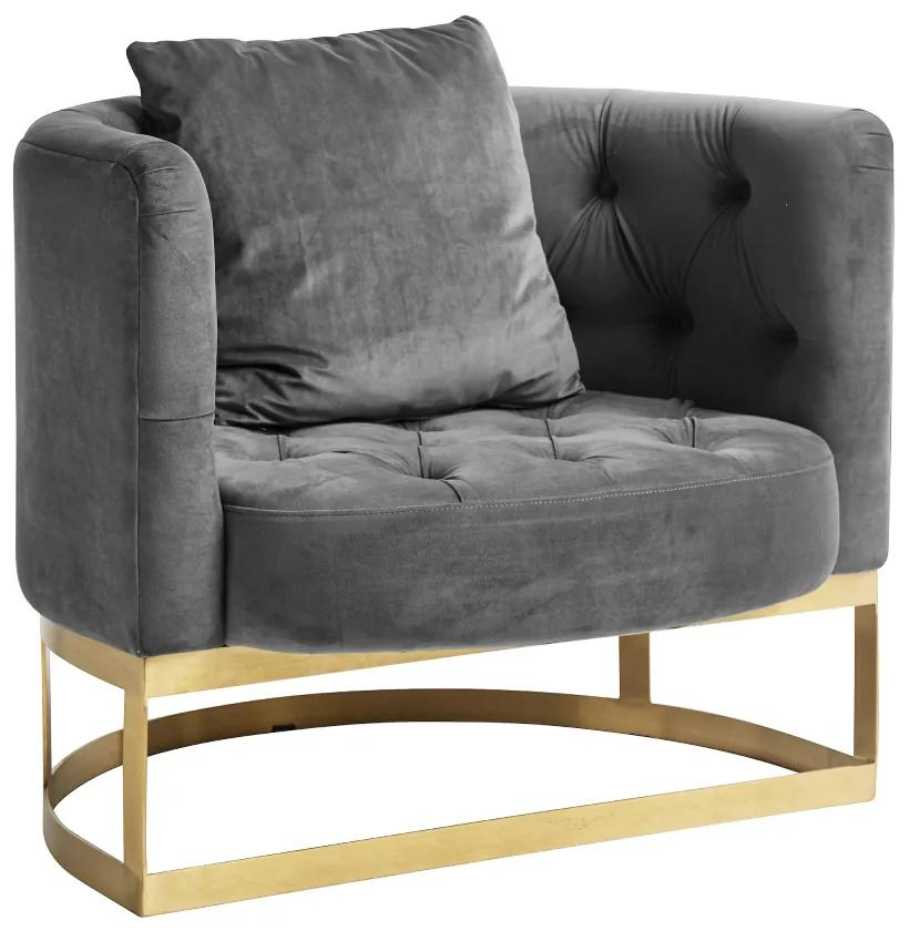 Fotoliu catifea gri si baza alama Lounge Chair Grey