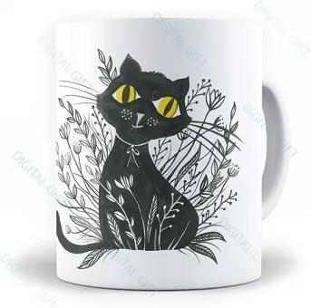 Cana ceramica - Pisica neagra