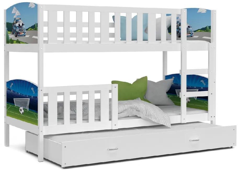 Expedo Pat supraetajat copii DOBBY 3 COLOR cu imprimeu + saltea + somieră GRATIS, 190x80, alb/model D10/H31