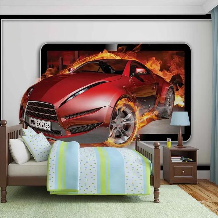 Car Flames Fototapet, (208 x 146 cm)